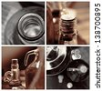homemade wine bottles vintage sepia collage - stock photo