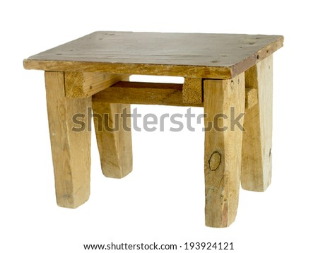 homemade wooden stool on a white background - stock photo