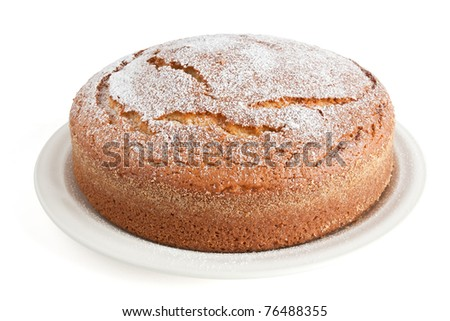 homemade yogurt cake isolated on white background with clipping path - stock photo