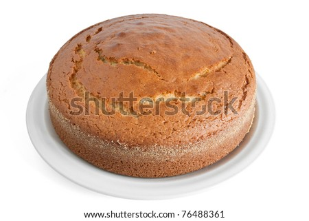 homemade yogurt cake isolated on white background with clipping path