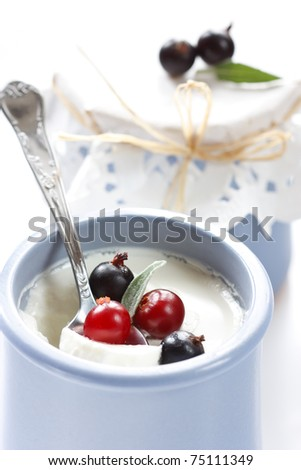 Homemade yogurt with berries in a small blue ceramic pot.