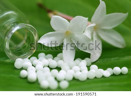 Homeopathy globules with herbal flower on green leaf - stock photo