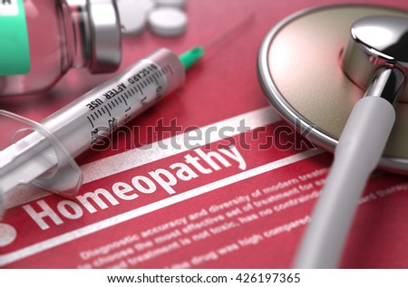 Homeopathy. Medical Concept with Blurred Text, Stethoscope, Pills and Syringe on Red Background. Selective Focus. 3D Render. - stock photo
