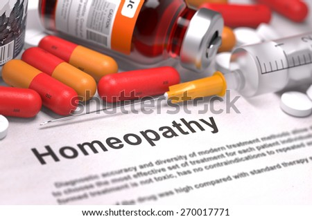 Homeopathy - Medical Concept with Composition of Medicaments - Red Pills, Injections and Syringe. Selective Focus. - stock photo
