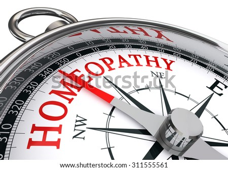 homeopathy red word on concept compass, isolated on white background
