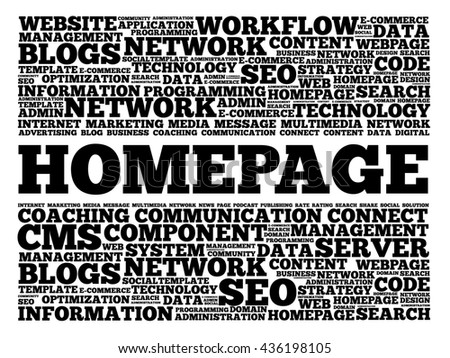 Homepage word cloud, business concept - stock photo