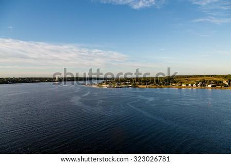 Homes along the coast of Nova Scotia, near Sydney - stock photo