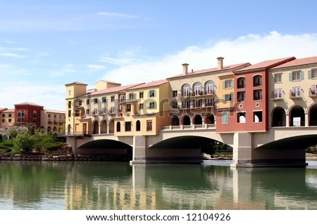 Homes and shops built over Lake Las Vegas, Nevada. - stock photo