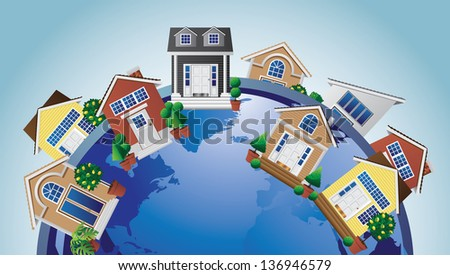 Homes around the world. Portions of this image provided by NASA. jpg - stock photo