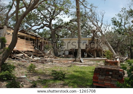 Homes destroyed in Biloxi Mississippi by hurricane Katrina - stock photo