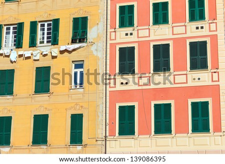 homes exterior in Camogli, famous small townin Liguria, Italy