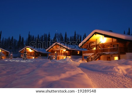 Homes in Winter Twilight - stock photo