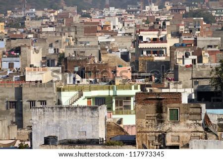 Homes, Jaipur, India - stock photo