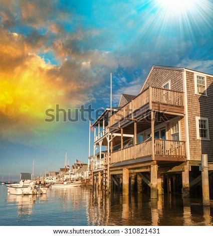 Homes of Nantucket. - stock photo