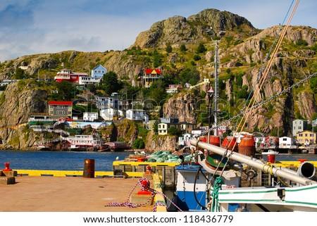 Homes on Battery Hill, St.John's, Newfoundland - stock photo