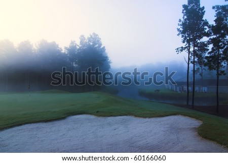 homes on golf course during early morning fog - stock photo