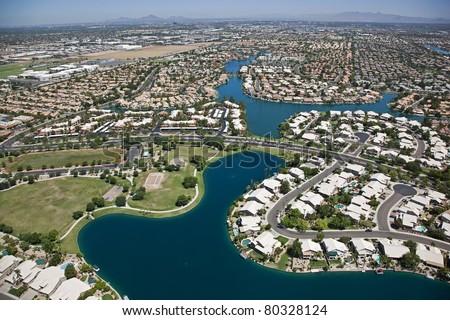 Homes on Man Made Lake - stock photo