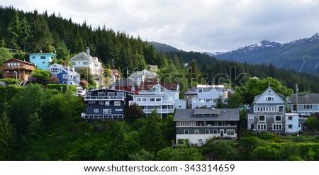 Homes on the Ridge Overlooking Ketchikan Harbor - stock photo