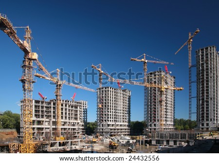 Homes under construction - stock photo