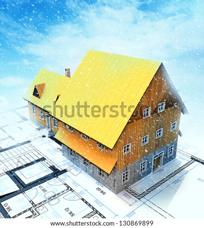 Homestead building with layout plan at winter snowfall illustration