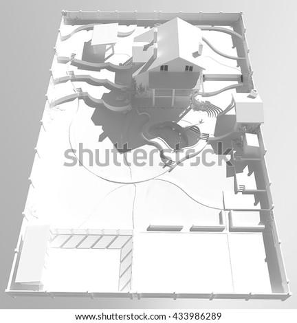 Homestead development plan, 3d render - stock photo