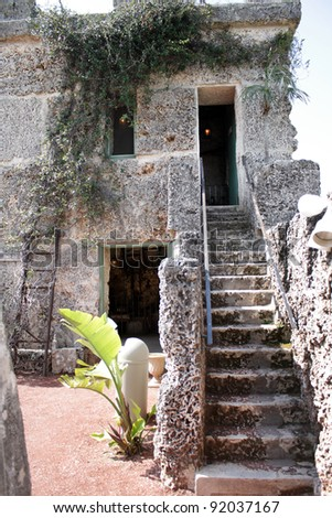 HOMESTEAD, FL - CIRCA APRIL 2010: Stairs to the living quarters inside the mysterious Coral Castle circa April, 2010 in Homestead, FL.  The builder took his secrets with him to the grave. - stock photo