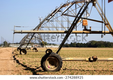 Homestead, Florida - April 10 2015 -  Department of Agriculture inspects old mechanical irrigation systems - stock photo