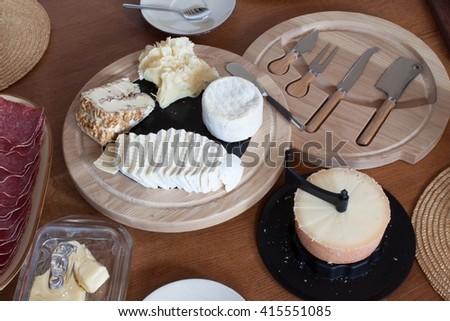 Homework healthy breakfast. Diet food. Breakfast for children. Well-laid wooden table. - stock photo