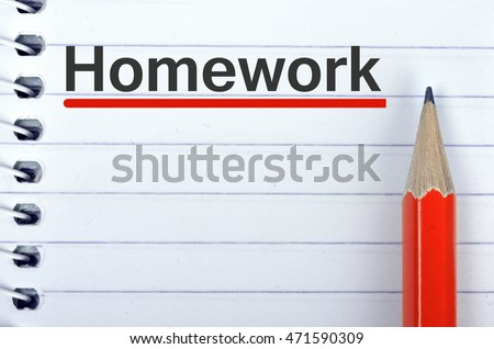 Homework text on notepad and red pencil