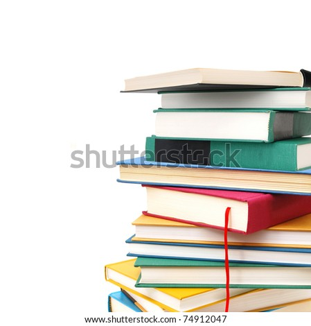 Homework textbooks on white background - stock photo
