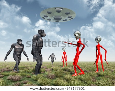 Homo Habilis and Aliens Computer generated 3D illustration - stock photo