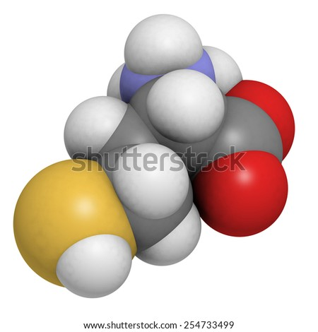 Homocysteine (Hcy) amino acid, molecular model. Elevated blood homocysteine levels are associated with cardiovascular disease. Atoms are represented as spheres with conventional color coding. - stock photo