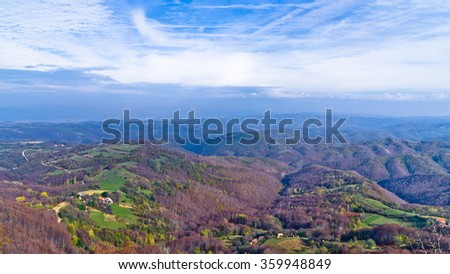Homolje mountains landscape on a sunny autumn day, east Serbia