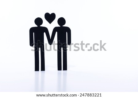 Homosexual couple, figurines, same-sex marriage - stock photo