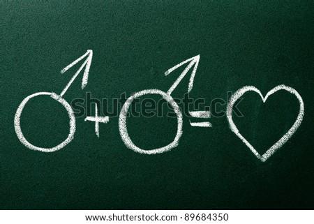 Homosexual couple in love symbols on green blackboard - stock photo