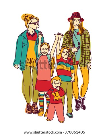 Homosexual gay lesbian woman lgbt family couple and kids. Color illustration.