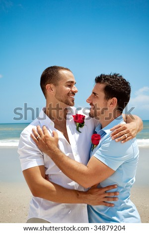 Homosexual men after wedding ceremony - stock photo