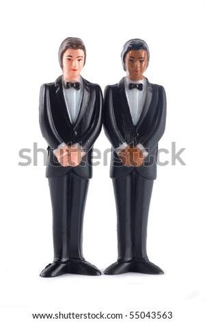 Homosexual wedding dolls isolated - stock photo
