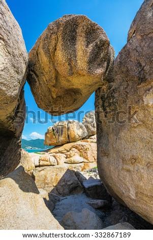 Hon Chong cape, popular tourist destinations at Nha Trang. Vietnam - stock photo
