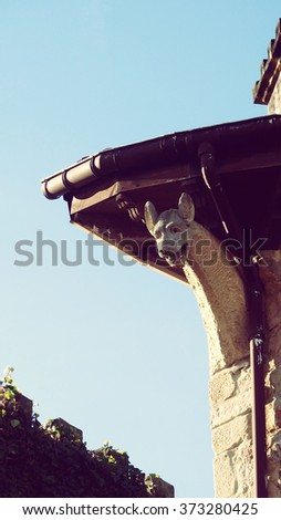 Hondarribia Fuenterrabia Town Old Gargoyle Basque Country Spain - stock photo