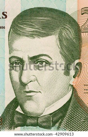 HONDURAS - CIRCA 2006: Dionisio de Herrera on 20 Lempiras 2006 Banknote from Honduras. Liberal politician who served as head of state of Honduras during 1824-1827 and Nicaragua during 1830-1833. - stock photo