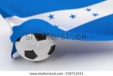 Honduras flag with championship soccer ball - stock photo