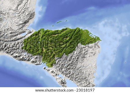 Honduras. Shaded relief map. Surrounding territory greyed out. Colored according to vegetation. Includes clip path for the state area. Data source: NASA