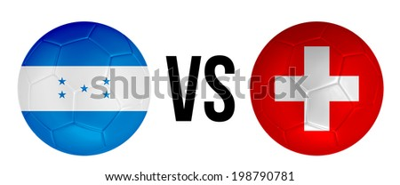Honduras VS Switzerland soccer ball concept isolated on white background - stock photo