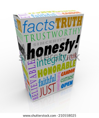 Honesty and related virtues on a product box or package for instant reputation building, including sinerity, trustworthiness, honor, candor and integrity - stock photo