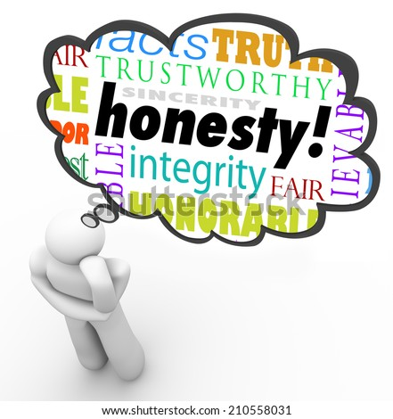 Honesty virtue words in a thought cloud over a thinking person including terms such as sincerity, integrity, truth, candor and trust - stock photo