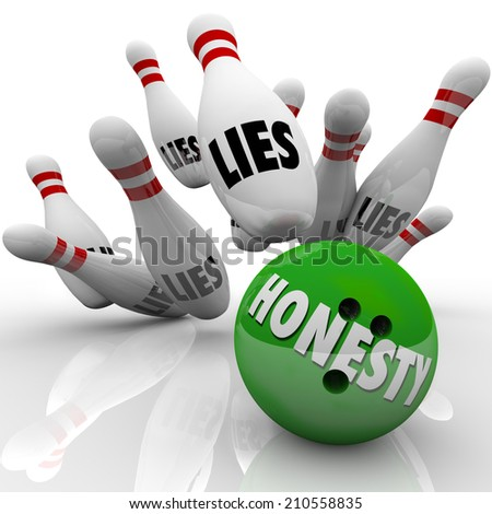 Honesty word on a green 3d bowling ball striking pins marked Lies to illustrate sincerity and integrity winning the game over deceit and dishonesty - stock photo