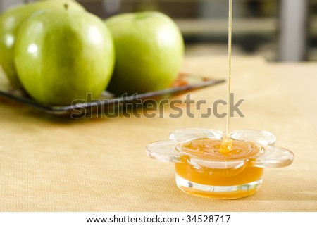 honey and green apple in the background jewish new year tradition - stock photo