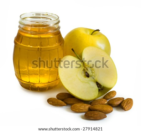 Honey, apples and nuts isolated on white background - stock photo