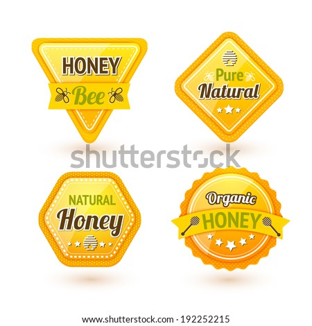 Honey bee pure natural organic products labels set isolated  illustration - stock photo